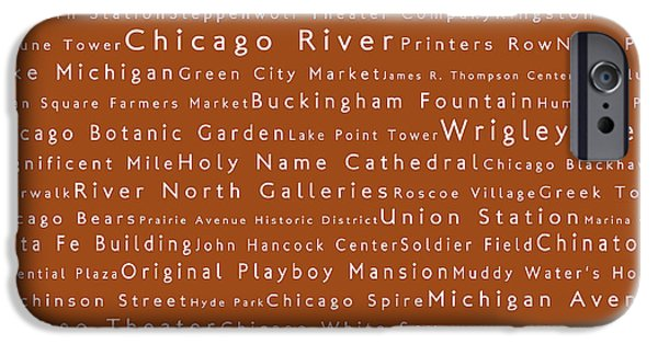 Wrigley Field iPhone Cases - Chicago in Words Toffee iPhone Case by Sabine Jacobs