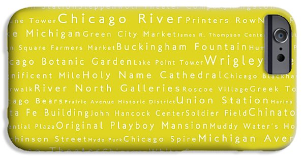 Wrigley iPhone Cases - Chicago in Words Yellow iPhone Case by Sabine Jacobs