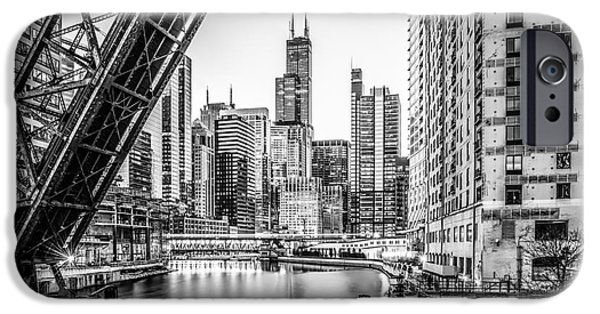 Willis Tower iPhone Cases - Chicago Kinzie Railroad Bridge Black and White Photo iPhone Case by Paul Velgos