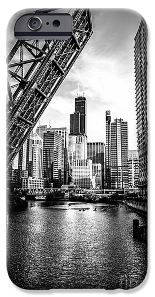 Sears Tower iPhone Cases - Chicago Kinzie Street Bridge Black and White Picture iPhone Case by Paul Velgos