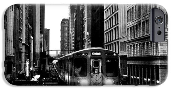 Benjamin iPhone Cases - Chicago L Black And White iPhone Case by Benjamin Yeager