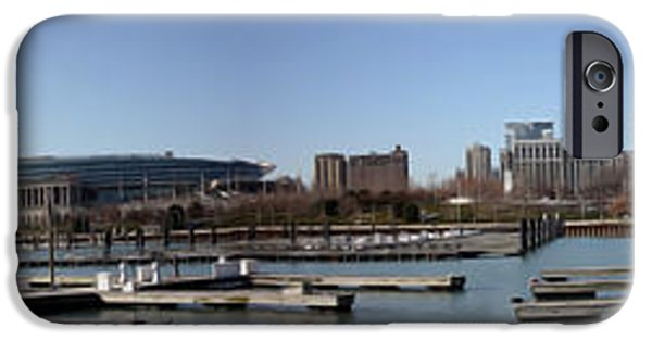 Soldier Field iPhone Cases - Chicago Lakefront - Soldier Field to Willis Tower iPhone Case by David Bearden