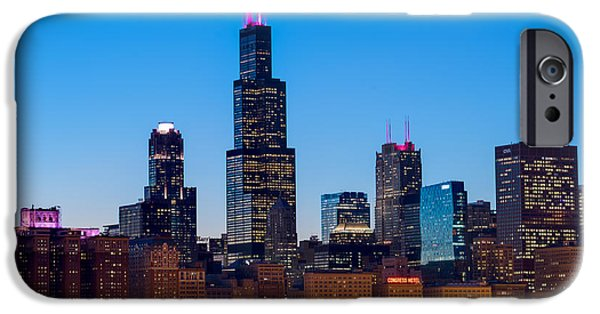 Willis Tower iPhone Cases - Chicago Lakefront Blues iPhone Case by Steve Gadomski