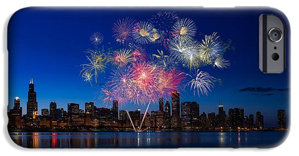 Fireworks Photographs iPhone Cases - Chicago Lakefront Fireworks iPhone Case by Steve Gadomski