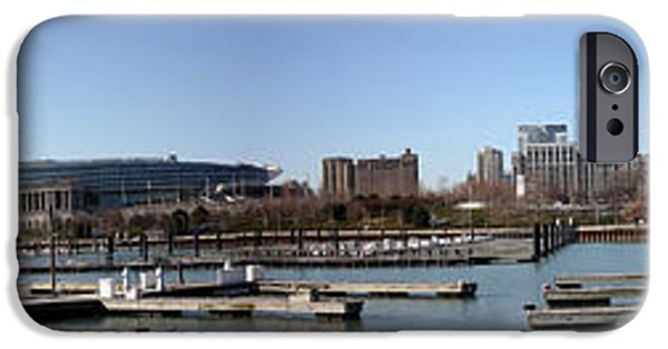 Soldier Field iPhone Cases - Chicago Lakefront panorama iPhone Case by David Bearden