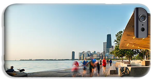 Jogging iPhone Cases - Chicago Lakefront Panorama iPhone Case by Steve Gadomski