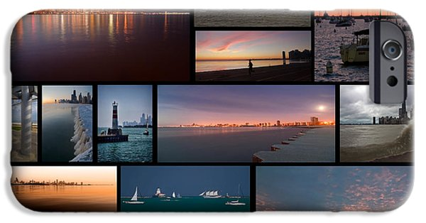 Willis Tower iPhone Cases - Chicago lakefront photo collage iPhone Case by Sven Brogren