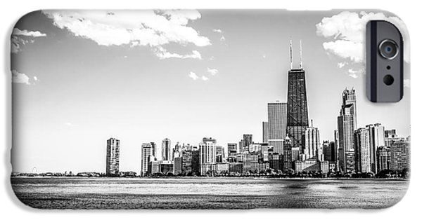 Hancock Building iPhone Cases - Chicago Lakefront Skyline Black and White Picture iPhone Case by Paul Velgos