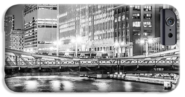 Merchandise iPhone Cases - Chicago Lasalle Street Bridge at Night Panorama Photo iPhone Case by Paul Velgos