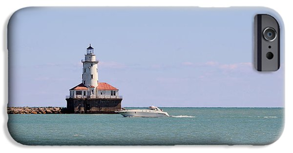 Lightstations iPhone Cases - Chicago Light House with Boat in Lake Michigan iPhone Case by Christine Till
