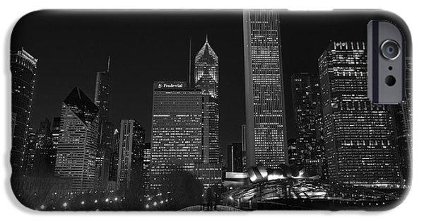Millennium Park iPhone Cases - Chicago Lights B W iPhone Case by Steve Gadomski