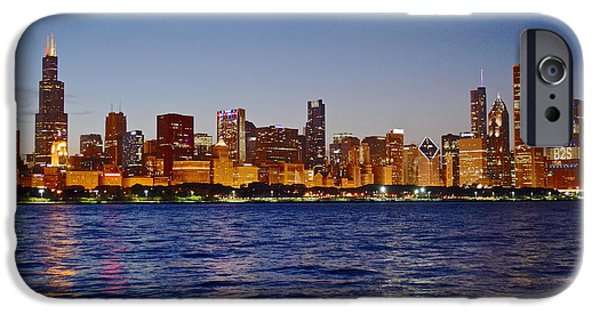 Chicago Cubs iPhone Cases - Chicago Lights iPhone Case by Frozen in Time Fine Art Photography