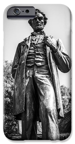 Chicago Lincoln Standing Statue in Black and White iPhone Case by Paul Velgos
