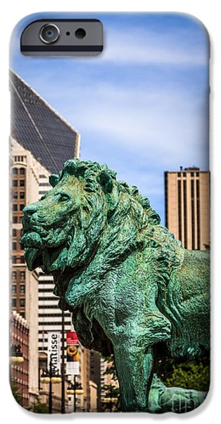 Lion Photographs iPhone Cases - Chicago Lion Statues at the Art Institute iPhone Case by Paul Velgos