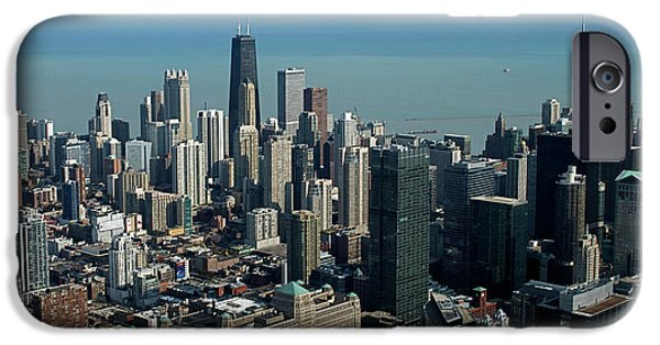 Willis Tower iPhone Cases - Chicago Looking East 03 iPhone Case by Thomas Woolworth