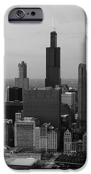 Chicago Looking West 01 Black and White iPhone Case by Thomas Woolworth