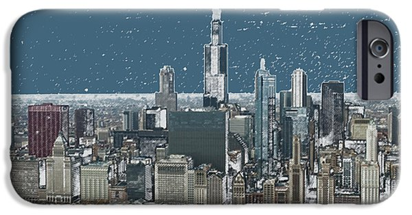 Willis Tower iPhone Cases - Chicago Looking West In A Snow Storm Digital Art iPhone Case by Thomas Woolworth