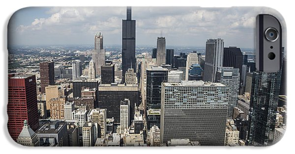 Willis Tower iPhone Cases - Chicago Loop Aerial iPhone Case by Adam Romanowicz