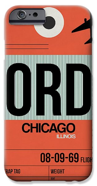 Town Mixed Media iPhone Cases - Chicago Luggage Poster 2 iPhone Case by Naxart Studio