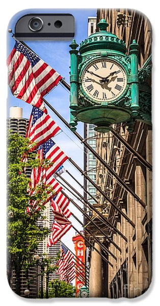 Editorial iPhone Cases - Chicago Macys Clock and Chicago Theatre Sign iPhone Case by Paul Velgos