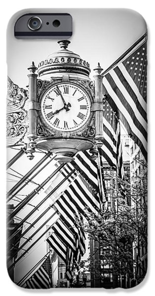 Macy iPhone Cases - Chicago Macys Clock in Black and White iPhone Case by Paul Velgos