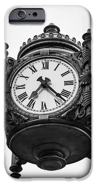 Daytime iPhone Cases - Chicago Macys Marshall Fields Clock in Black and White iPhone Case by Paul Velgos