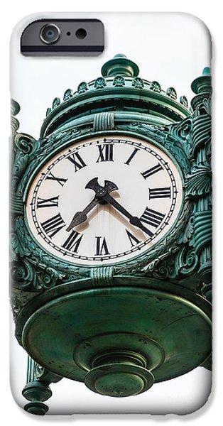 Macy iPhone Cases - Chicago Macys Marshall Fields Clock iPhone Case by Paul Velgos