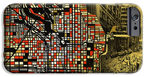 Sears Tower iPhone Cases - Chicago Map Drawing Collage 2 iPhone Case by MB Art factory