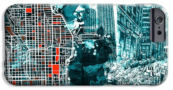 Sears Tower iPhone Cases - Chicago Map Drawing Collage iPhone Case by MB Art factory