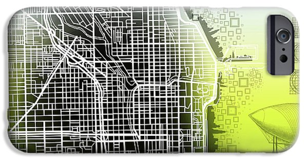 Modern Abstract iPhone Cases - Chicago Map Gradient iPhone Case by MB Art factory