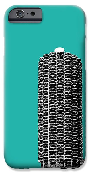 Pen And Ink Digital Art iPhone Cases - Chicago Skyline Marina Towers - Teal iPhone Case by DB Artist