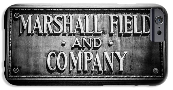 Macy iPhone Cases - Chicago Marshall Field Sign in Black and White iPhone Case by Paul Velgos