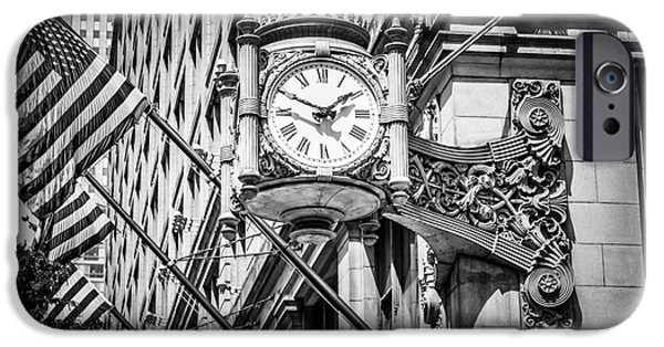 Macy iPhone Cases - Chicago Marshall Fields Clock in Black and White iPhone Case by Paul Velgos