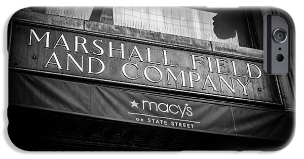 Macy iPhone Cases - Chicago Marshall Fields Macys Sign in Black and White iPhone Case by Paul Velgos