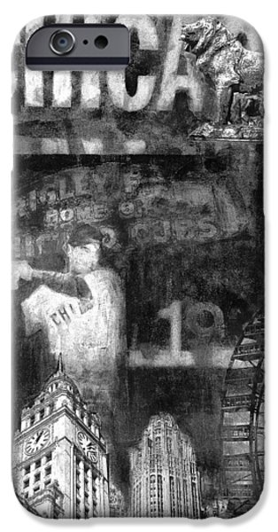 Chicago Cubs Mixed Media iPhone Cases - Chicago Memories in Black and White iPhone Case by Joseph Catanzaro