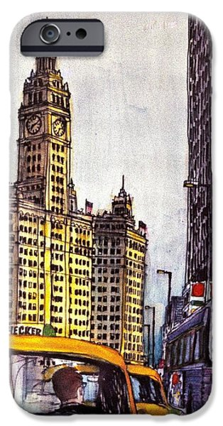 Wrigley Paintings iPhone Cases - Chicago Michigan Ave Wrigley Building iPhone Case by Robert Birkenes