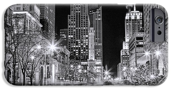 Michigan Paintings iPhone Cases - Chicago Michigan Avenue Light Streak Black and White iPhone Case by Christopher Arndt