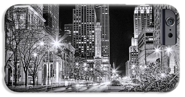 Grant Park Paintings iPhone Cases - Chicago Michigan Avenue Light Streak Black and White iPhone Case by Christopher Arndt