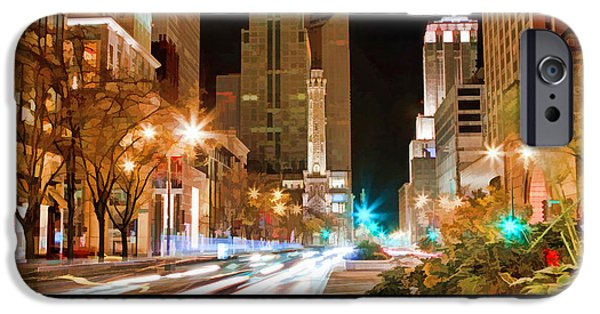Michigan Paintings iPhone Cases - Chicago Michigan Avenue Light Streak Poster iPhone Case by Christopher Arndt