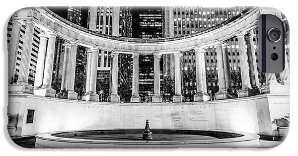 Millennium Park iPhone Cases - Chicago Millennium Monument Black and White Picture iPhone Case by Paul Velgos