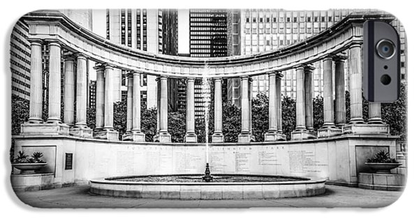 Wrigley iPhone Cases - Chicago Millennium Monument in Black and White iPhone Case by Paul Velgos