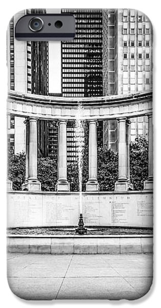 Chicago Millennium Monument in Black and White iPhone Case by Paul Velgos