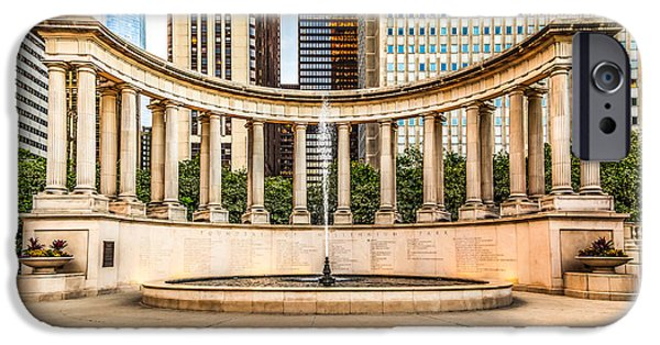 Wrigley iPhone Cases - Chicago Millennium Monument in Wrigley Square iPhone Case by Paul Velgos