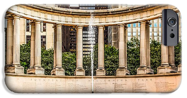 Wrigley iPhone Cases - Chicago Millennium Monument Wrigley Square Panorama Photo iPhone Case by Paul Velgos