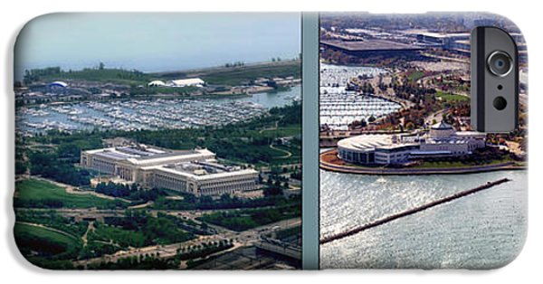 Soldier Field iPhone Cases - Chicago Museum Park 2 Panel iPhone Case by Thomas Woolworth