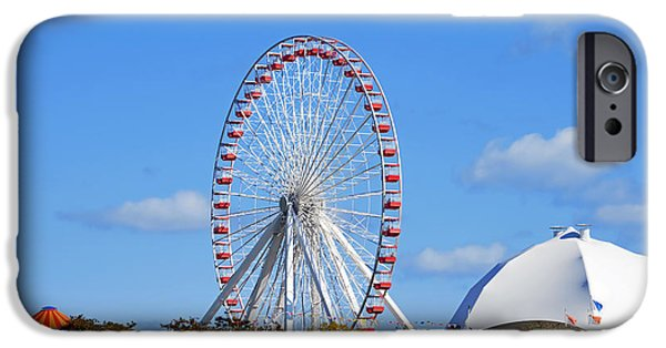 Interior Scene iPhone Cases - Chicago Navy Pier Ferris Wheel iPhone Case by Christine Till