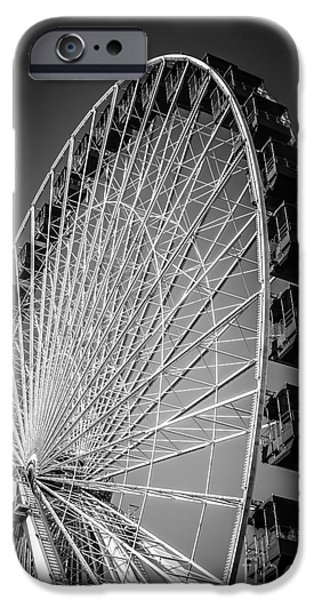 Amusements iPhone Cases - Chicago Navy Pier Ferris Wheel in Black and White iPhone Case by Paul Velgos