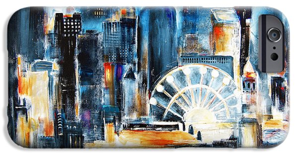Chicago Paintings iPhone Cases - Chicago - Navy Pier iPhone Case by Kathleen Patrick