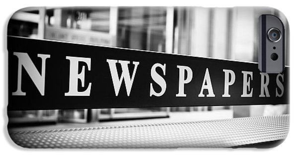 Operating iPhone Cases - Chicago Newspapers Stand Sign in Black and White iPhone Case by Paul Velgos