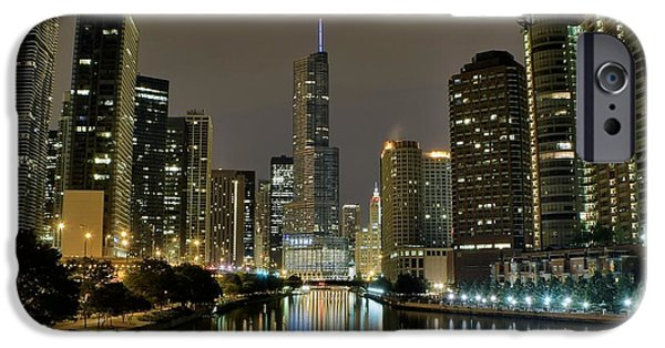 Wrigley iPhone Cases - Chicago Night River View iPhone Case by Frozen in Time Fine Art Photography